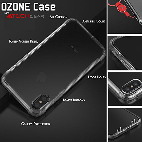 Coque iPhone X - TECHGEAR® iPhone X [Ozone Case] Coque Protective Anti-Choc en TPU avec Coins Renforcés et Touches Intégrées - Noir Fumée (Coque iPhone 10) Ultra Claire