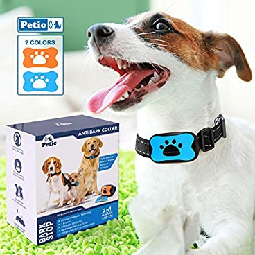 Advanced 2in1 Anti Bark Dog Collar | Stop Dogs Excessive Barking Device with NO SHOCK SPRAY MUZZLE! SAFE HARMLESS & HUMANE Anti-Bark Training with Sound & Vibration for Small Medium Large Size Breeds