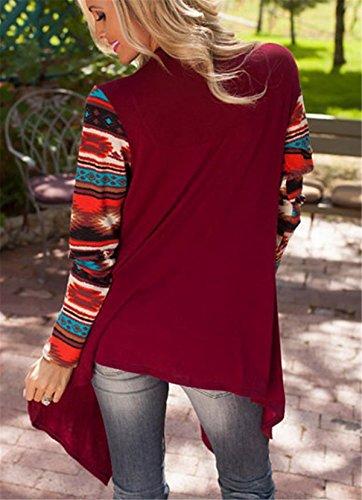 SHUNLIU Frauen Halsband Langarm Unregelmäßige Strickjacke Lose Hemd Bluse Hemd Rot