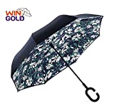 wingold Reverse Regenschirm Groß 106 cm Automatik Reise Golf Regenschirm mit Windfang und Robust Sturm Geschützt Durch Doppelkappe mit Windfang für 2 Personen - Lilie