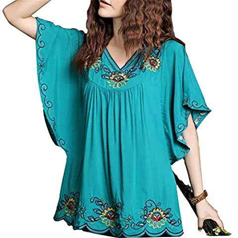 Xinqiao Girls Women's Short-Sleeve Embroidered Mexican Tops Shirt Tunic Blouse (Blue)