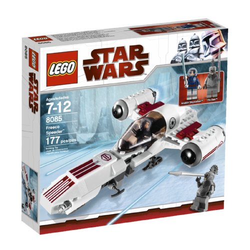 Lego Year 2010 Star Wars Animated Series The Clone Wars Vehicle Set #8085 - FREECO SPEEDER with Opening Cockpit and Rear Cargo Hold Plus 2 Mini Figures - Anakin Skywalker with Blue Lightsaber and Talz Chieftain with Spear (Total Pieces : 177) by Star Wars - Star Wars 2010 Legos