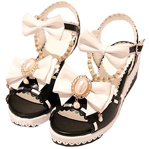 Partiss Damen Sweet Lolita High-top Schuhen Hochzeit Pumps Cosplay Lace Bowknots Dienstmaedchen Platform Pumps Sommer Sandalen Lolita Shoes mit Perlenschnur Schwarz&Weiss