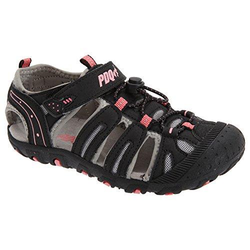 PDQ Kinder Sport Sandalen mit Klettverschluss und Toggel Schwarz/Pink