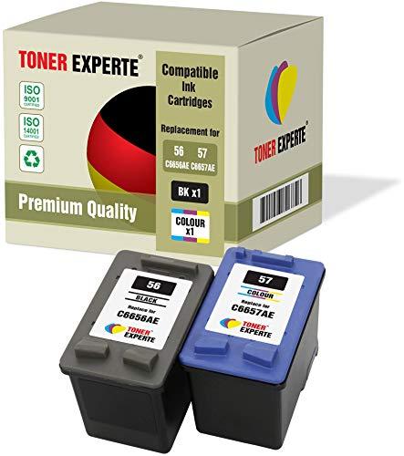 2 XL TONER EXPERTE® Druckerpatronen kompatibel für HP 56 57 Officejet 5610 4215 PSC 1210 1215 1315 2110 Photosmart 7260 7350 7450 7660 7762 7960 C4180 C4280 C5280 Deskjet 5150 5550 (Schwarz, Farbe) - 7760 Cyan Toner