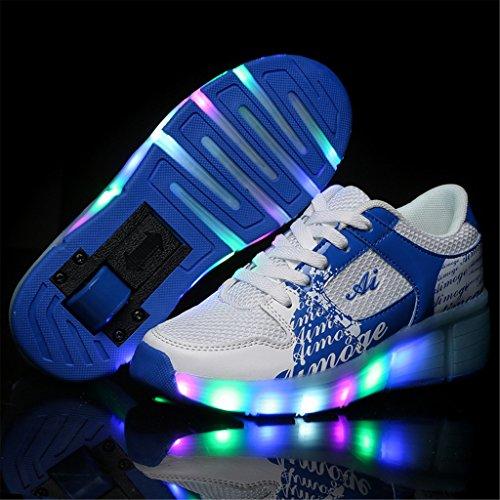 Schuhe Mit Rollen Led Leuchtend Kinderschuhe Lichter Rädern Turnschuhe Atmungsaktiv Mesh Rollschuhe Mädchen Jungen Blau
