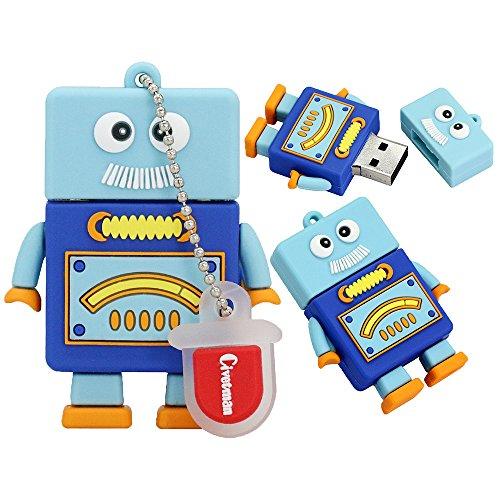 64GB Memory Stick Pen Drive USB2.0 Niedlichen Cartoon Miniatur-Roboter Daumen Fährt für Datum Speicher Geschenk für Schüler Kinder Kinder Lehrer Collegue Mitarbeiter