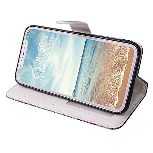 Custodia Moda Per iPhone X, Asnlove PU Pelle Caso Funzione Portafoglio Cover Motif di Colore Cassa Flip Libro Case Bumper Antiurto Protezione Completa Shell Per iPhone X - Colore 5 Colore-5