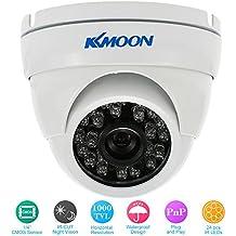 KKmoon 1000TVL Cámara Domo de Vigilancia Gran Angular CMOS CCTV Sistema de Seguridad Metal Exterior (Blanco/Negro, PAL)