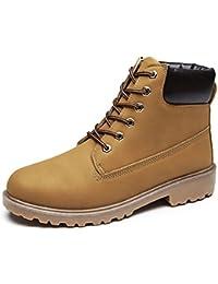 ukStore Damen Herren Worker Boots Schnür Stiefeletten Herbst Winter Outdoor Warme Gefütterte Winterstiefel Wasserdicht Martin Stiefel, Gelb, 42 EU