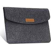 MoKo Funda de Fieltro 7-8 Pulgadas - Sleeve Bag Maletín de Carpeta Cover Case para Apple iPad mini 1 2 3 4 / Samsung Galaxy Tab S2 8.0 Tableta con Card Slot y Bolsillos Ect., Gris Oscuro