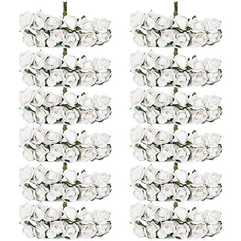 Approx.140pcs Mini testine Boccioli di rosa di carta, motivo floreale, Bouquet per decorazione festa, motivo: 1,5 cm bianco