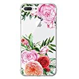 LUOLNH iPhone 7 Plus Case,iPhone 8 Plus Case, China Rose Series TPU Bumper Soft Protective Slim Flexible Silicone Glossy Skin Cover Case for iPhone 7 Plus/8 Plus -China Rose