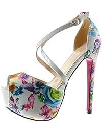 Angkorly - Zapatillas de Moda Tacón escarpín Sandalias stiletto zapatillas de plataforma sexy mujer flores tanga Talón Tacón de aguja alto 15 CM - Blanco