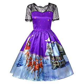 LOPILY Women Vintage Casual Short Sleeve Lace Gown Party Dress (2XL, Purple)