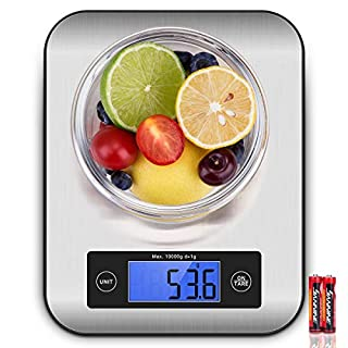 Kitchen Scales, CUSIBOX 22Ib/10kg Stainless Steel Food Scales, Digital Kitchen Scales with LCD Backlit Tare Function, Electric Weighing Scales Measuring in g, oz, lbs, ml, Batteries Included