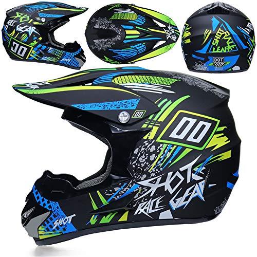 MRDEER® Professionell Motocross Helm Motorradhelm Helm Gesetzt mit Schutzbrille, Handschuhe, Maske, Straßenrennen Off-Road-Helm Unisex Erwachsener Integralhelm Helmet,Green,M