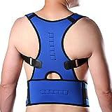 CROSS1946 Corrector de postura ajustable, refuerzo de espalda para corrección de lesiones óseas, espalda de caza, azul, Medium