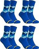 gigando - Qualitäts Socken für Herren 4 | 8 Paar - kariertes buntes Motiv, modisches Design mit Muster für Anzug, Business und Freizeit - Baumwolle