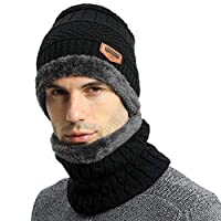 Habikox Unisex Winter Beanie Hat Scarf Set Warm Knitted Hat and Circle Scarf Set Outdoors Scarf Beanie Skiing Hat for Men and Women Choose Seller Name LEGEGE
