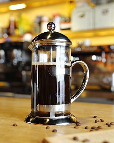 Miusco 18/8 - Cafetera clásica de prensa, termo con doble pared de acero inoxidable para café o té, eléctrica, 1litro, 8tazas Mirror