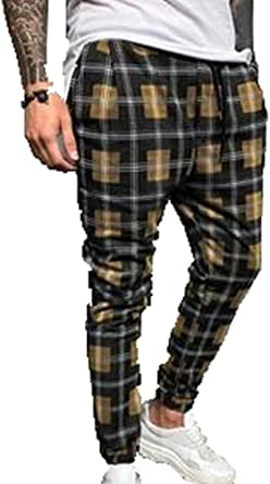Feidaeu Pantaloni Harem Streetwear da Uomo Pantaloni da Jogging Scozzesi Dritti Pantaloni Hip Hop Casual Traspiranti e durevoli