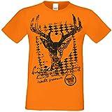 Herren T-Shirt Trachtenshirt Bayern Hirsch Oktoberfest Volksfestoutfit bayrischer Spruch Farbe: Orange Gr: XL