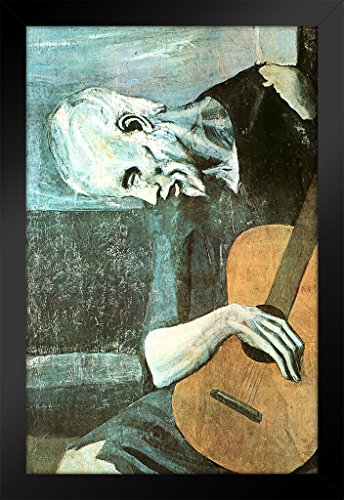 Pablo Picasso Poster Gießerei die alte Gitarristen Öl Panel Expressionismus Malerei Fine Art Print 14x20 inches Framed Poster -