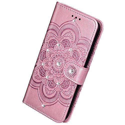 Herbests Kompatibel mit Samsung Galaxy A20S Handyhülle Leder Hülle Schutzhülle Glitzer Diamant Strass Bling Mandala Blumen Motiv Muster Flip Case Brieftasche Ledertasche Klapphülle,Rose Gold