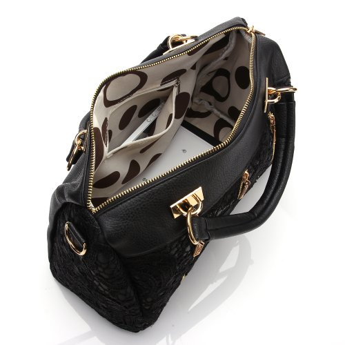 Pu Shoulder Tote Bag (J&G Damen Lace Korean Damen PU Leder Messenger Bag Tote Shoulder Bag Handtasche Schwarz)