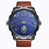 QY OULM Men ' S Quartz Watch Tre Movimenti Bussola Comode Orologi in Pelle Cinturino in Pelle Quadrante Orologio da Polso,Blue