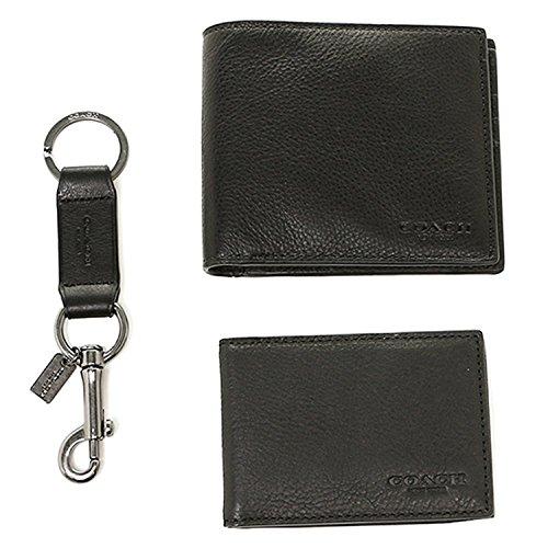 Coach Men's 3 in 1 Sport Calf Leather Billfold ID Wallet Key Fob Gift Set - Black -