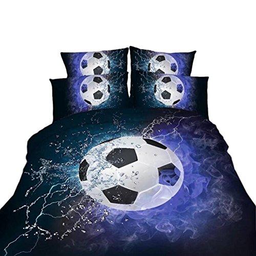 Bolony Fußball 3D-Druck Bettbezug Set, 1Bettbezug, 1Bettlaken, 2Kopfkissenbezüge (Multi 200x - Twin Männer Bettbezug