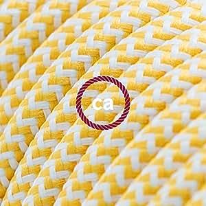Elektrisches Kabel rund überzogen mit Textil-Seideneffekt Zick-Zack Gelb RZ10 - 20 Meter, 3x0.75