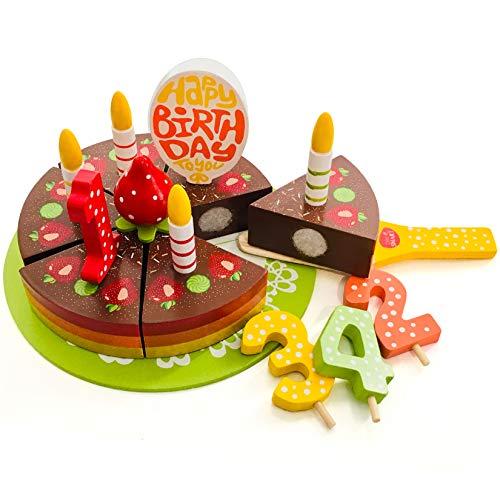 Juego de comida para cumpleaños de madera para niños en un plato listo para ser servido en el tiempo del té. Ideal para sesiones de juego creativas y para introducir los conceptos de sabor y compartir. Accesorio de madera perfecto para cualquier coci...