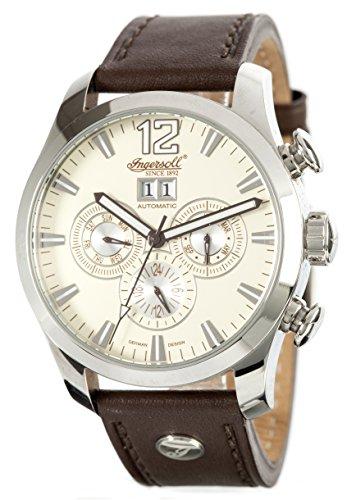 Ingersoll Herren Armbanduhr Automatik mit Gelb Zifferblatt Chronograph-Anzeige und braun Lederband IN1215CR