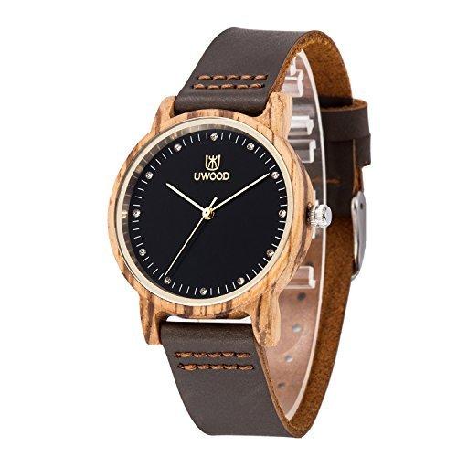 Orologi Donna, MUJUZE Nuovo orologio a mano in legno quarzo orologio da polso regali (zebra)