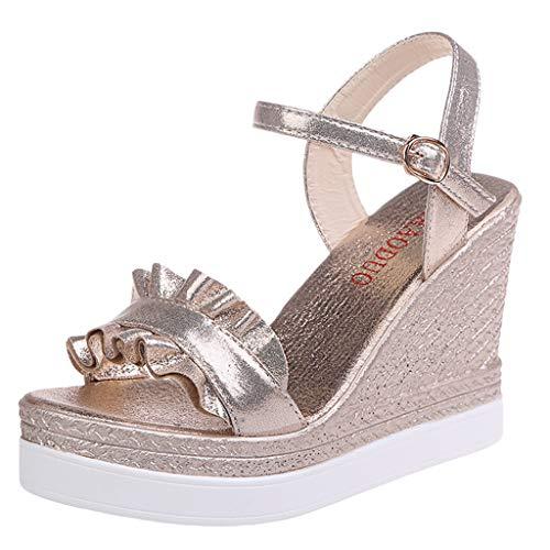 koperras Women's Sequin Wedge Sandals,Women's Summer Ruffle Buckle Bling Strap High Heel Platform Open Toe Shoes Cork Wrap Wedge