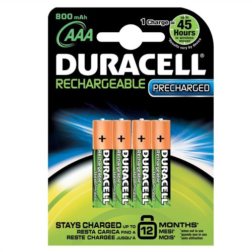 Duracell Stay Charged Battery Long-life Rechargeable 800mAh AAA Size 1.2V Ref 81364755 [Pack 4] Long-life-batterie-pack