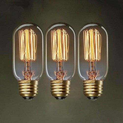 srrit 3x E2725W T45gerade Draht Retro Edison Glühbirne Dekorative Kunst Lampe (Kunst Glas Wechseln)