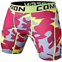 A. M. Sport Mallas Fitness Hombre y Caballero Cortas sin Costuras y compresivas. Leggigs Cortos Licra. (Rojo y Amarillo)