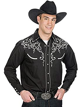 Men's Cotton Blend Retro Leaf Embroidery Western Shirt