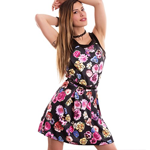 Toocool - Vestito donna abito miniabito fiori svasato senza maniche nuovo CC-1387 Nero