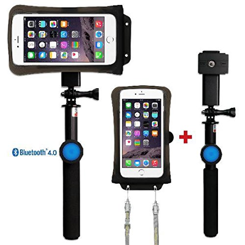 DiCAPac Action Handyhüllen Set für Gionee Gpad G2 / Gpad G3 / GPad G5 - Handytaschen Set/Schutzhüllen Set inkl. Halterset mit Bluetooth Fernauslöser, Selfie Stick