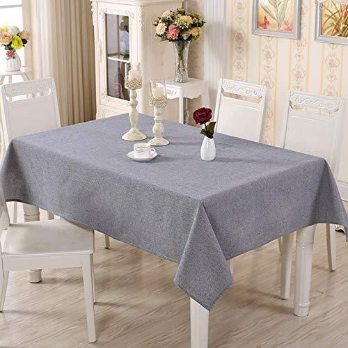 Centenarios Einfache Farbe gewebte Baumwolle und Leinen einfarbig rechteckige Tischdecke Couchtisch Tischdecke (Color : Blue, Size : 120x160cm) (Baumwolle Gewebte Tischdecke)