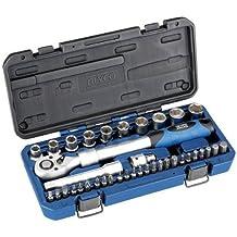 """Alyco 192383 - Juego 38 piezas llaves de vaso 1/2"""" + carraca extensible + adaptadores + puntas en maletin plastico"""