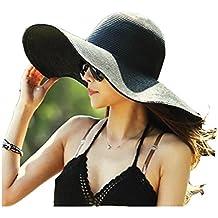 Hemore Sombrero de Playa con ala Ancha Plegable para Mujer Sombrero de Paja  de Verano en aabda2857a51