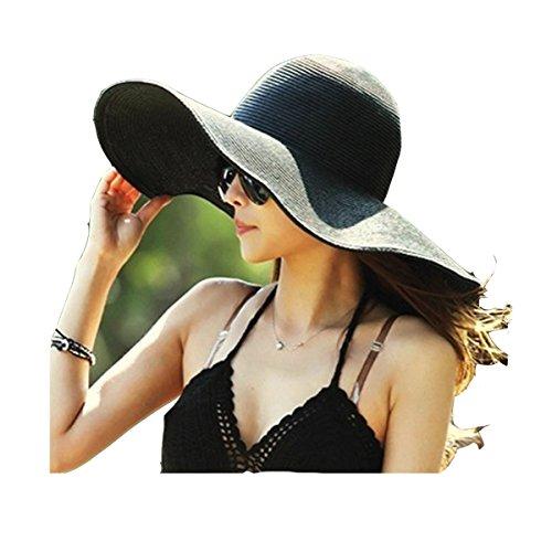 Sombrero de Playa con Ala Ancha Plegable para Mujer Sombrero de Paja de Verano en Piscina y Parque Negro