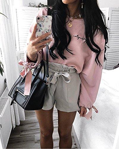 Minetom Moda Donna Camicia Solido Bowknot Manica Lunga Camicetta Casuali Delle Camicette Collo Rotondo Crop Top Primavera Autunno Pullover Rosa