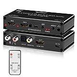 Tendak, interruttore HDMI 4 K, 2 porte HDMI 2.0, switch box 2x1 HDMI + estrattore audio ottico Toslink L/R con telecomando IR Ultra HD 4K @ 60Hz HDCP 2.2 ARC 3D per PS4, Xbox One, Blu-ray DVD